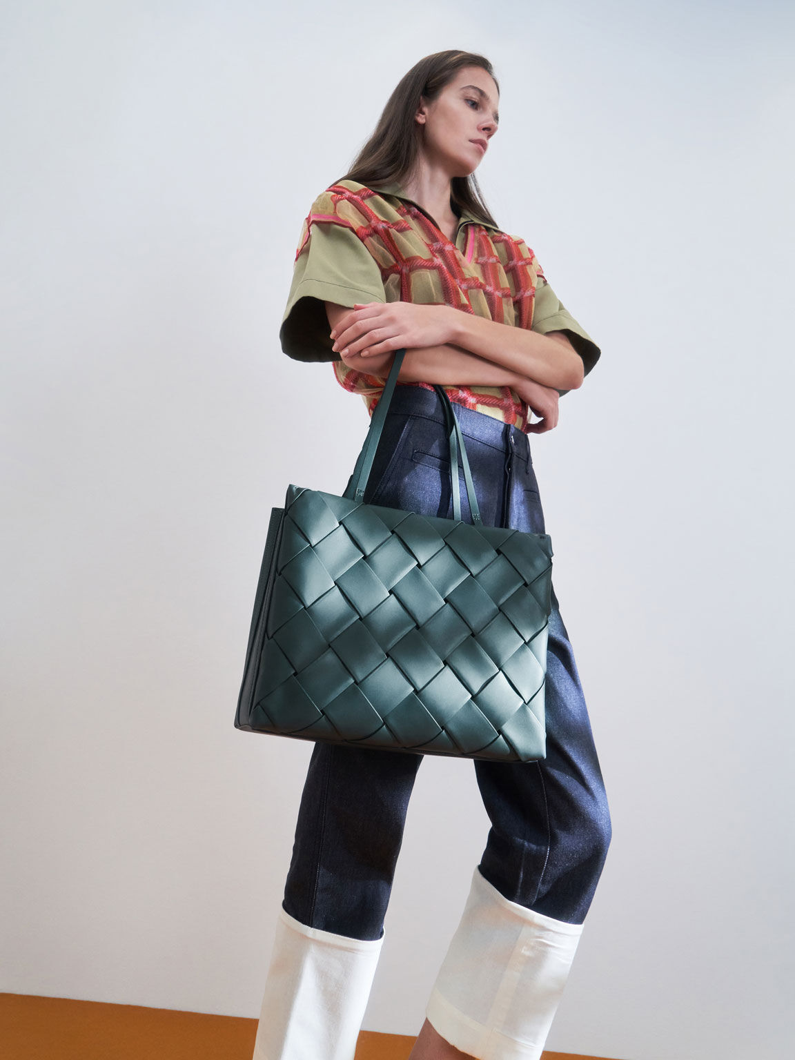 Woven Double Top Handle Bag, Teal, hi-res