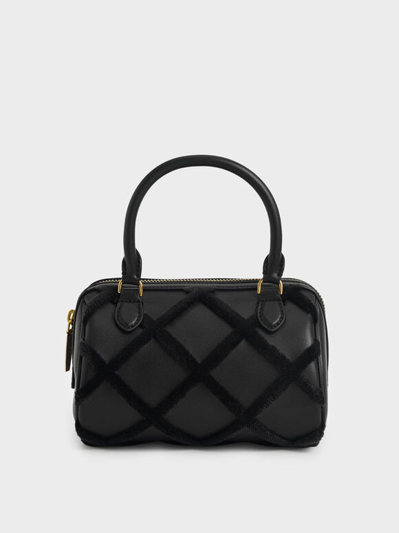 Criss-Cross Pattern Top Handle Bag, Black, hi-res