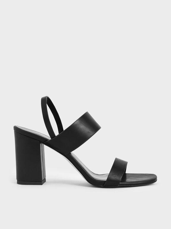 Back Strap Block Heel Sandals, Black, hi-res