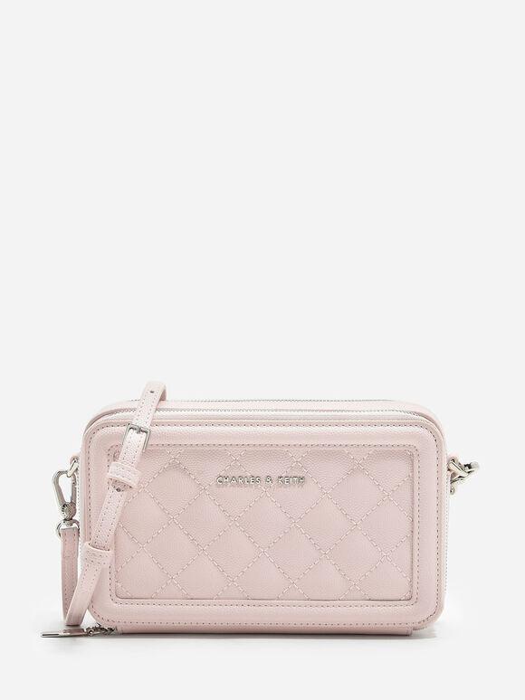 Quilted Zip Around Wallet, Pink, hi-res