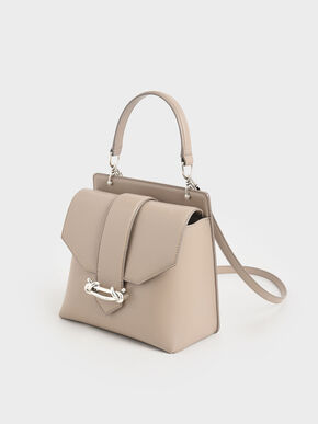 Metallic Accent Top Handle Bag, Sand, hi-res