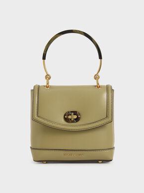 Stone-Embellished Top Handle Bag, Khaki, hi-res