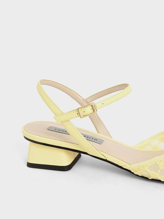 Lace Square Toe Pumps, Yellow, hi-res
