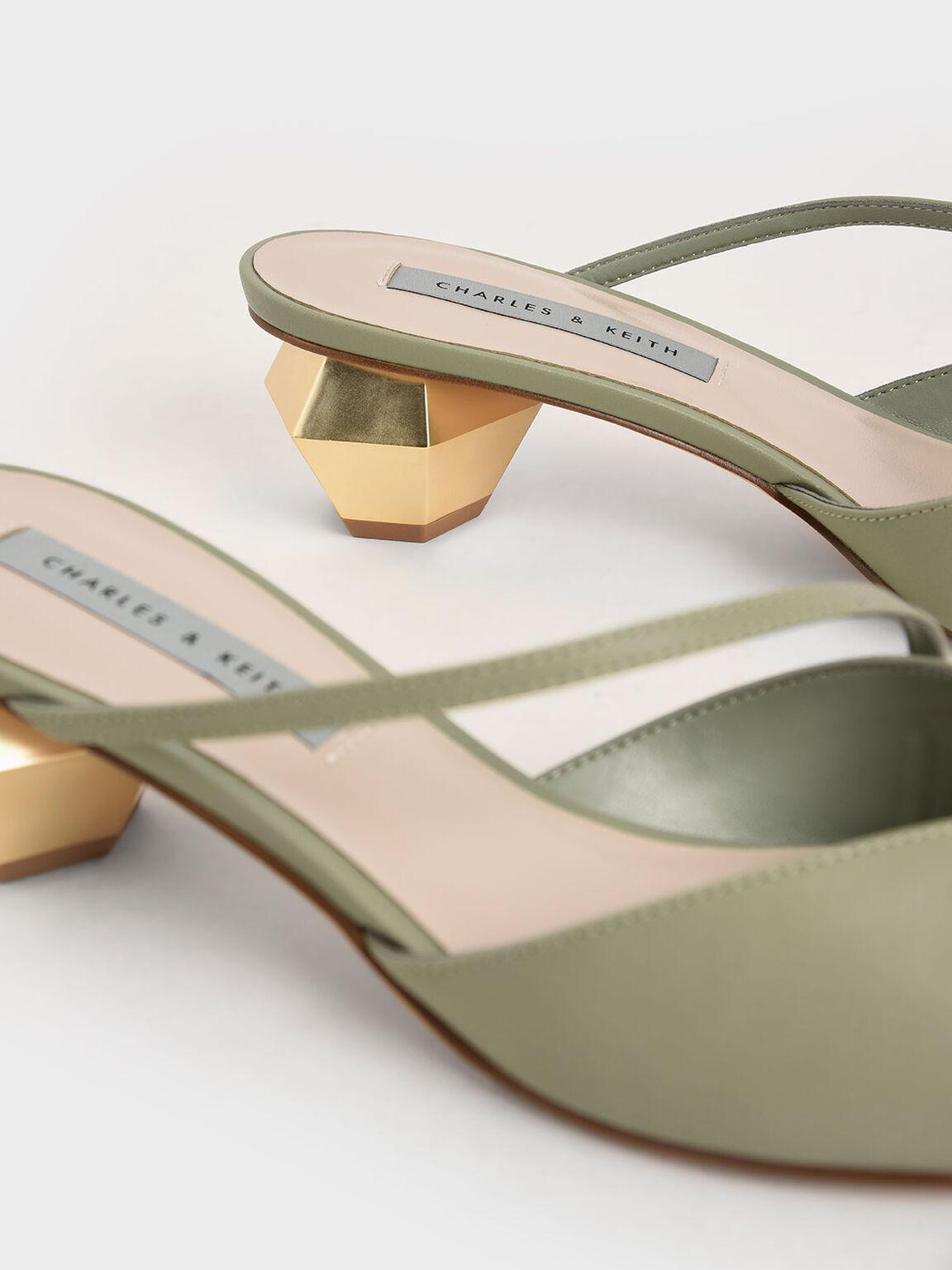 Asymmetric Strap Chrome Heel Mules, Sage Green, hi-res