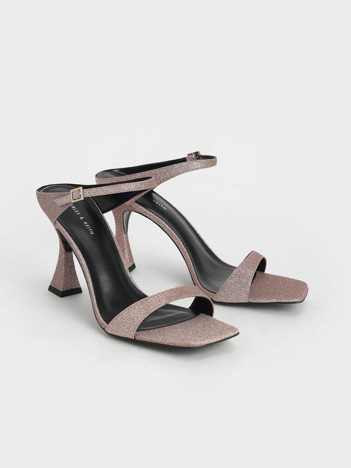 Glitter Sculptural Heel Mules, Pink, hi-res