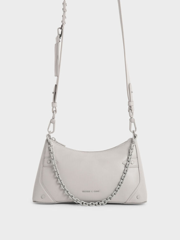 Chain Handle Crossbody Bag, Light Grey, hi-res