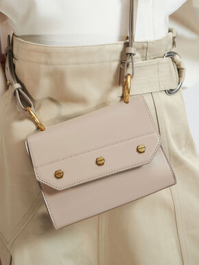 Studded Top Handle Bag, Taupe, hi-res