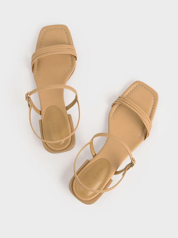 Open Square Toe Heeled Sandals, Mustard, hi-res