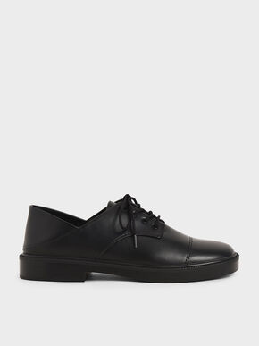 Chunky Sole Oxford Shoes, Black, hi-res
