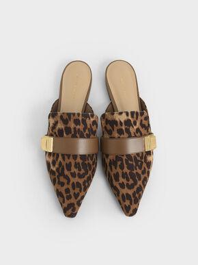 Leopard Print Buckle Loafer Mules, Animal Print Natural, hi-res