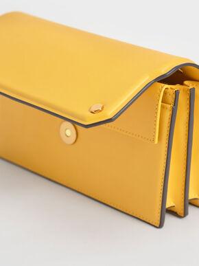Front Flap Long Wallet, Yellow, hi-res