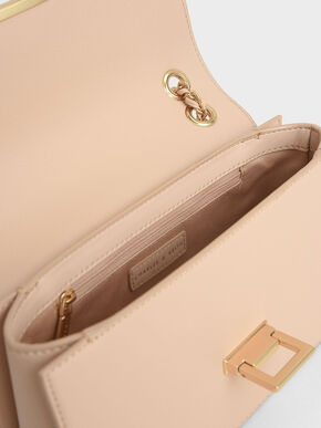 Chain Strap Push-Lock Shoulder Bag, Nude, hi-res
