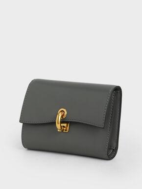 Metallic Turn-Lock Wallet, Grey, hi-res