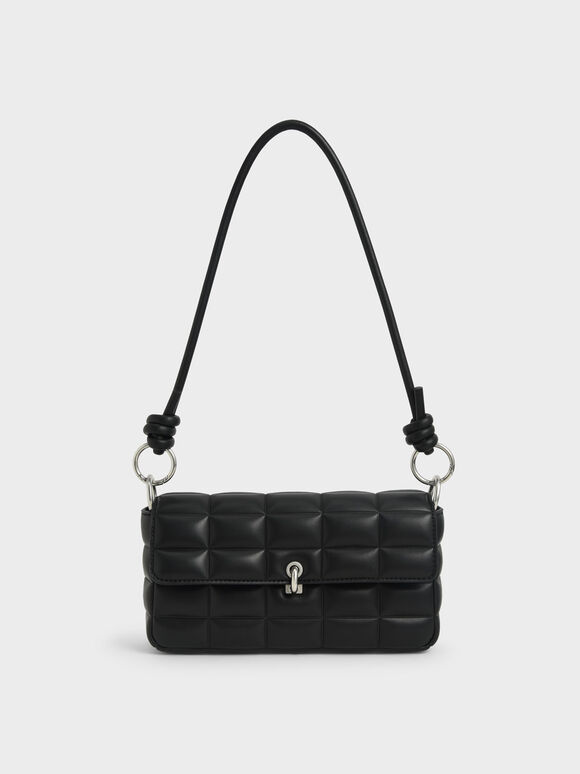 Chunky Chain Handle Quilted Shoulder Bag, Black, hi-res