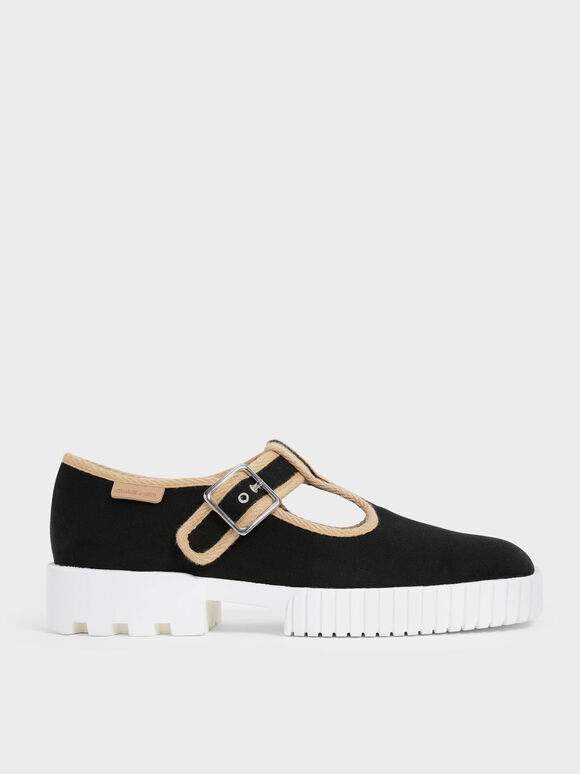 Cotton Buckled Sneakers, Black Textured, hi-res