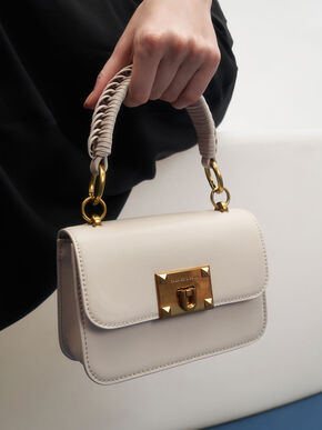 Canvas Metallic Turn-Lock Bag, Ivory, hi-res