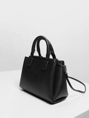 Structured Top Handle Bag, Black, hi-res