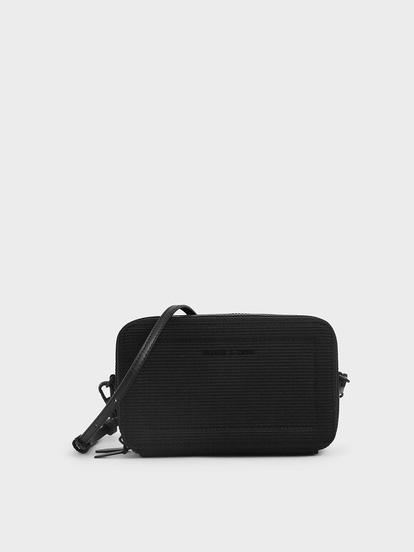 Grosgrain Stitch Trim Crossbody Bag, Black, hi-res