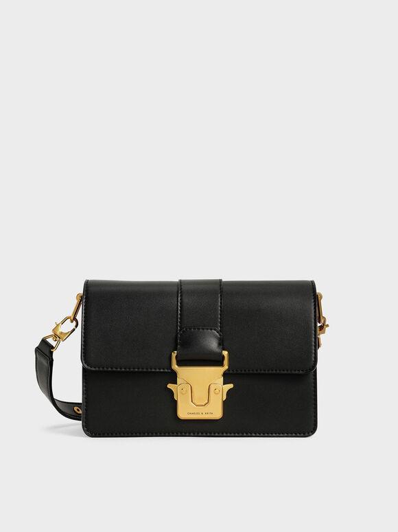 Metallic Accent Shoulder Bag, Black, hi-res