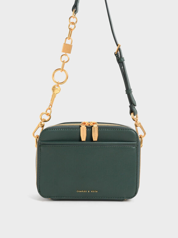 Chunky Chain Handle Two-Way Zip Crossbody Bag, Dark Green, hi-res