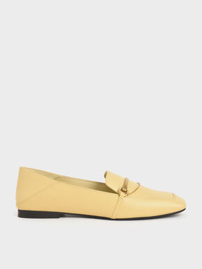 Metallic Accent Loafers, Yellow, hi-res