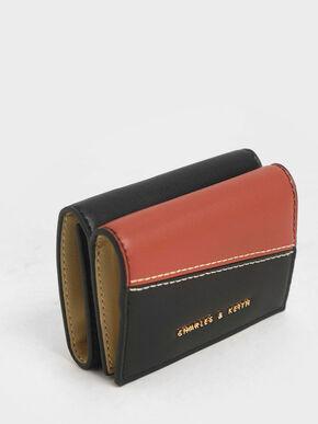 Two-Tone Stitch-Trim Wallet, Black, hi-res