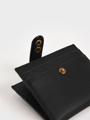 Snap Button Card Holder, Black, hi-res