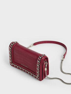 Croc-Effect Chain-Trimmed Clutch, Berry, hi-res