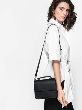 Front Flap Sling Bag, Black, hi-res