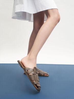 Weave Detail Mule Flats, Dark Brown, hi-res