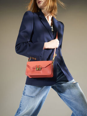 Stone-Embellished Envelope Bag, Coral, hi-res