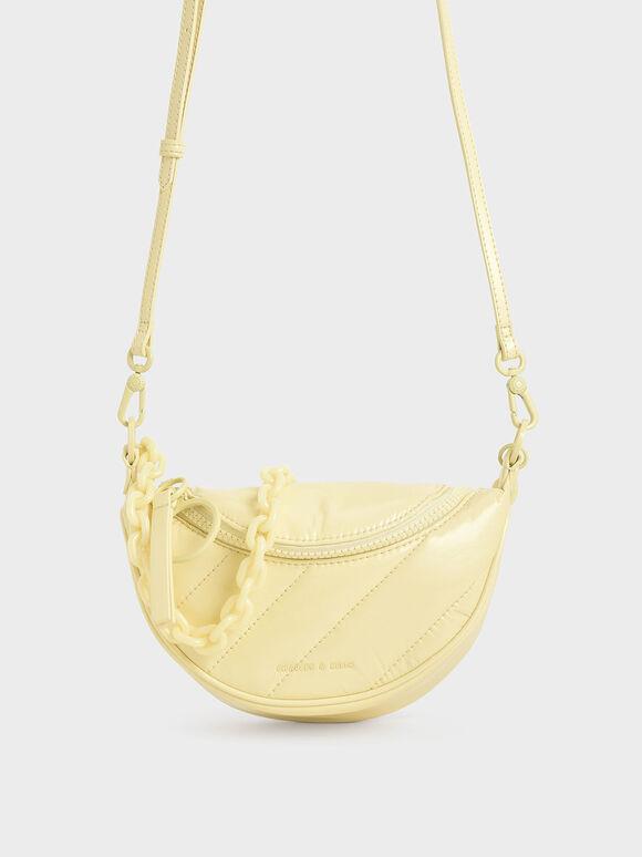 Patent Semi-Circle Crossbody Bag, Butter, hi-res