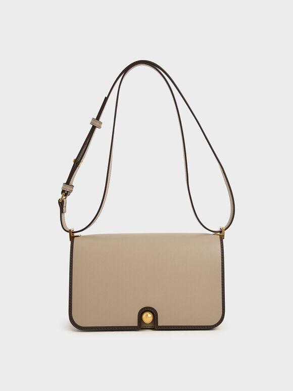 Metallic Push-Lock Shoulder Bag, Taupe, hi-res