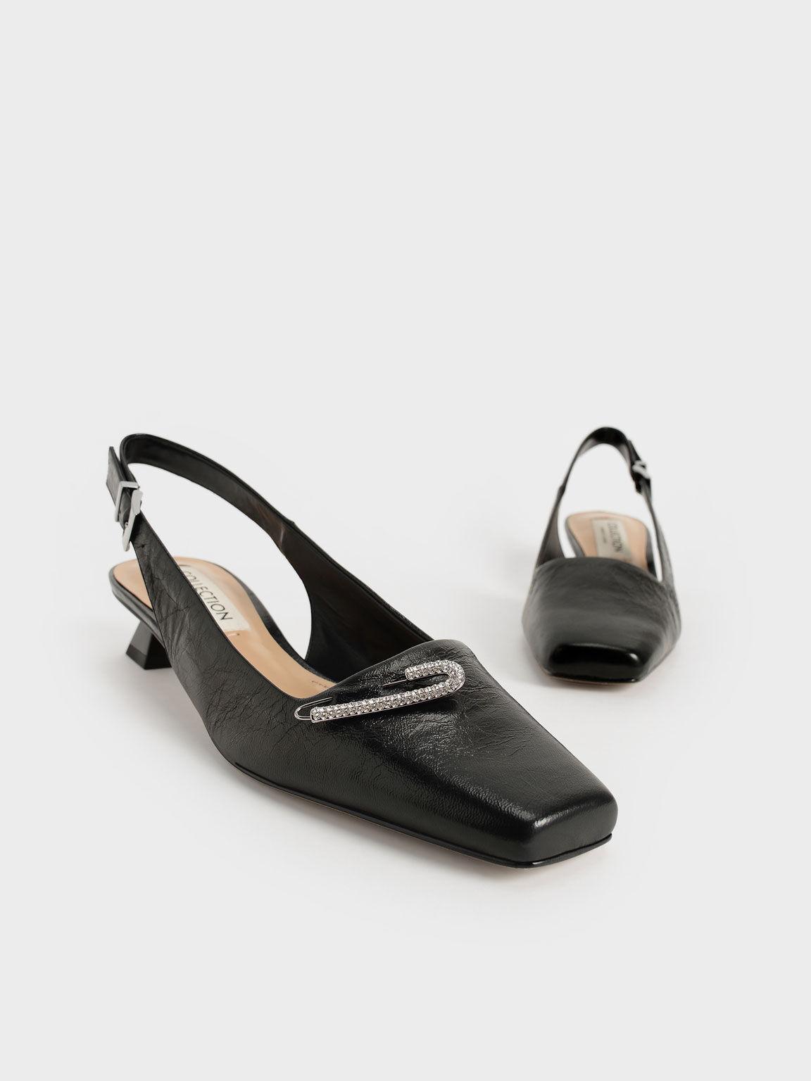 Gem-Embellished Leather Slingback Pumps, Black, hi-res