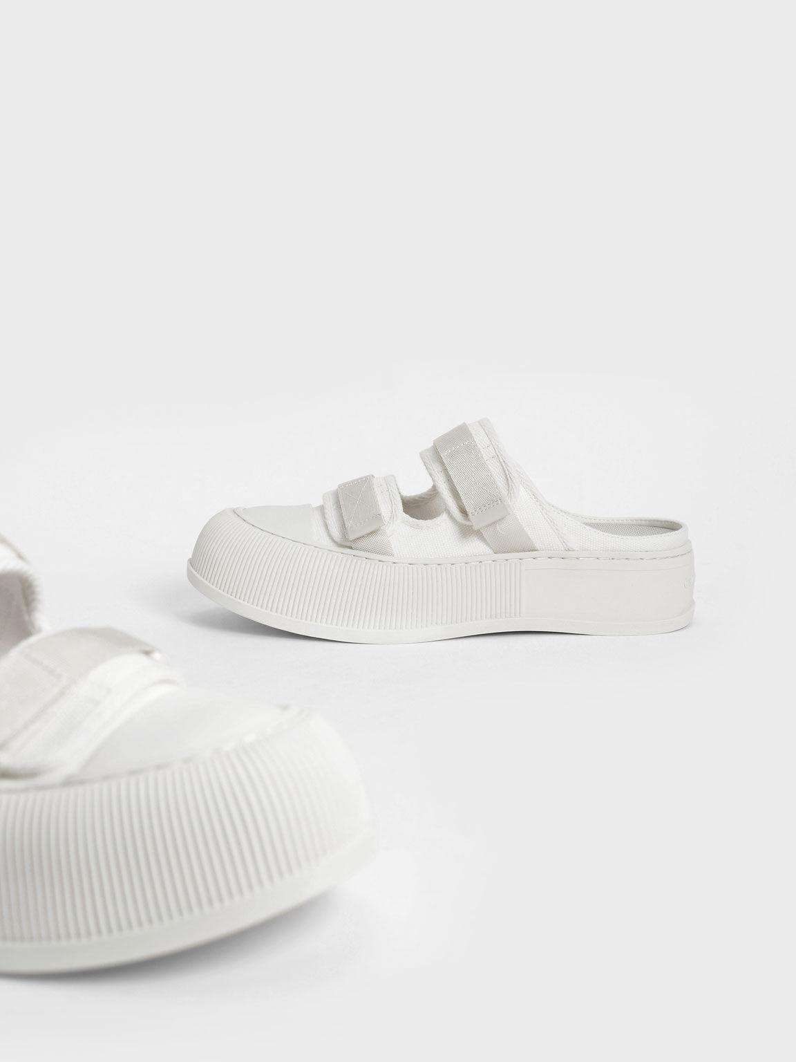 Canvas Velcro Sneaker Mules, White, hi-res