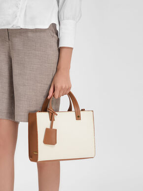Structured Top Handle Tote Bag, Cream, hi-res