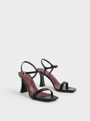 Sculptural Heel Sandals, Black, hi-res