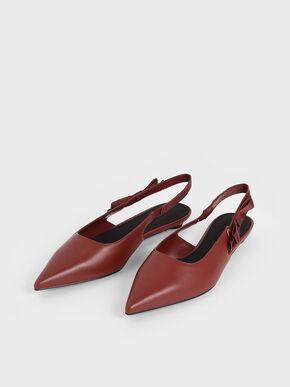 Ribbon Tie Slingback Flats, Red, hi-res
