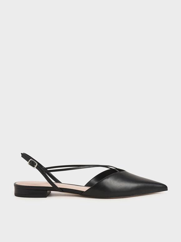 Strappy Ballerina Slingback Flats, Black, hi-res