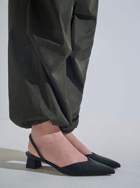 Trapeze Heel Slingback Pumps, Black, hi-res