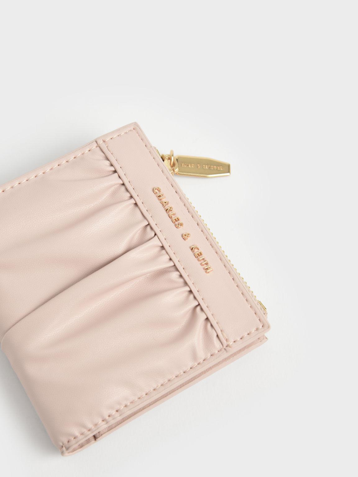 Ruched Short Wallet, Light Pink, hi-res