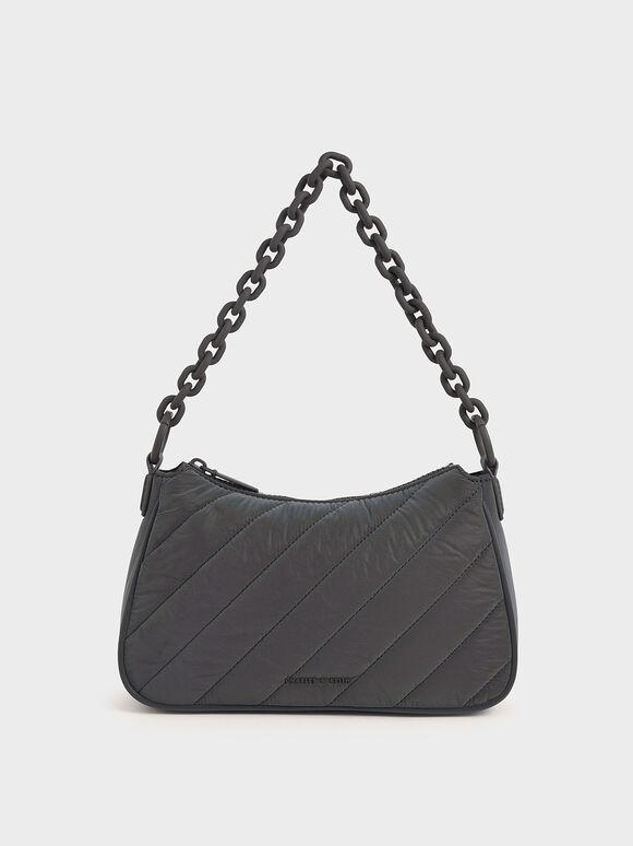 Panelled Chain Handle Crossbody Bag, Peacock, hi-res