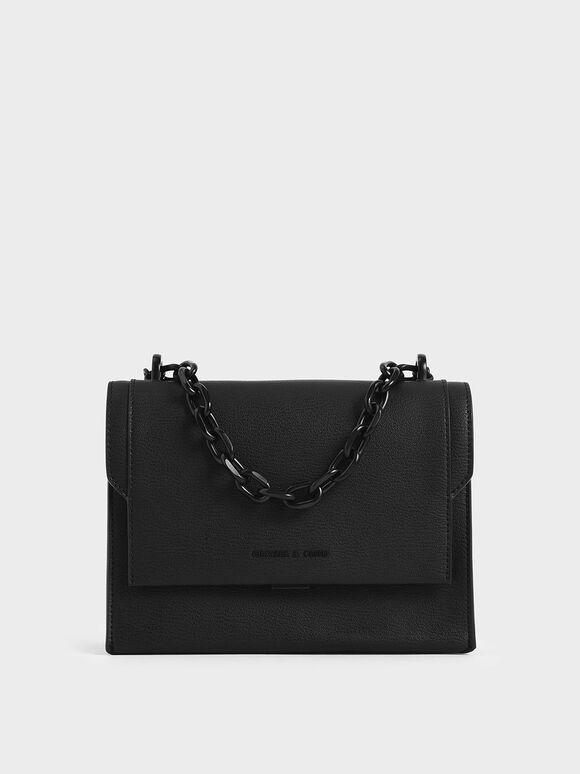 Chain Handle Evening Bag, Ultra-Matte Black, hi-res