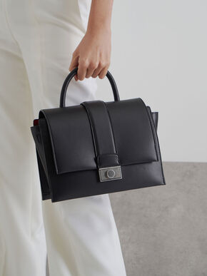 Metallic Push-Lock Handbag, Black, hi-res