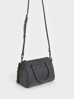 Nylon Panelled Tote Bag, Peacock, hi-res