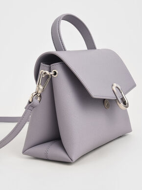Stone-Embellished Front Flap Bag, Lilac, hi-res