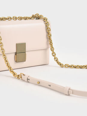 Metallic Push-Lock Clutch, Light Pink, hi-res