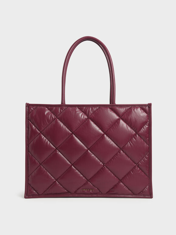 Double Handle Quilted Tote Bag, Burgundy, hi-res