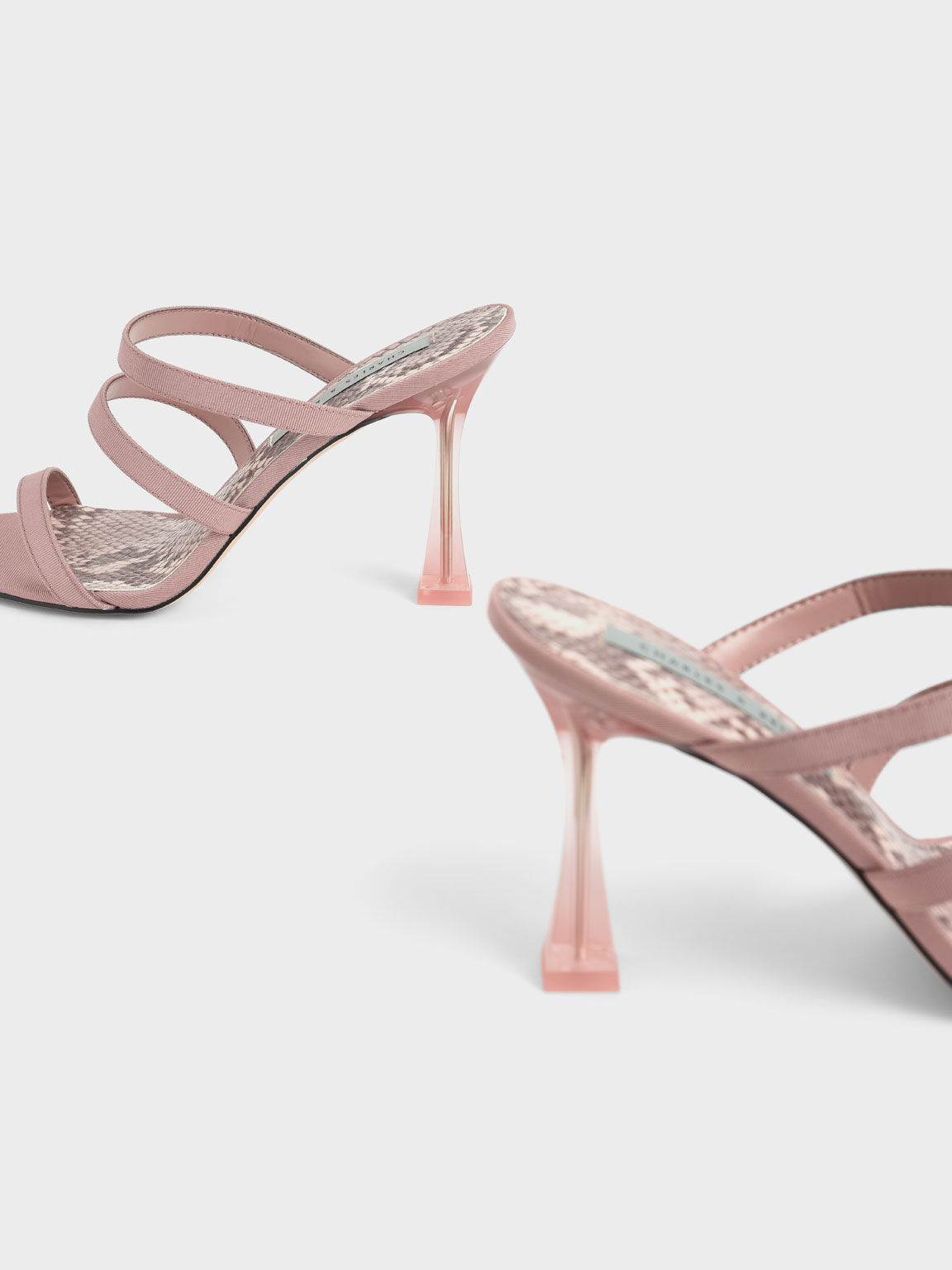 Clear Sculptural Heel Sandals, Nude, hi-res