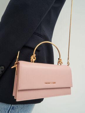Metallic Handle Long Wallet, Blush, hi-res